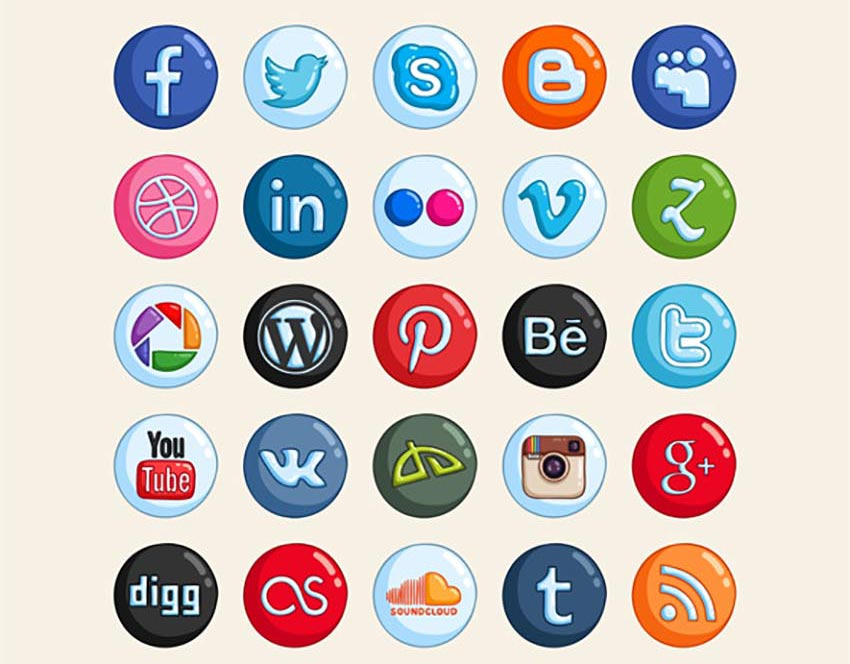 25 Hand Drawn Social Media Icons