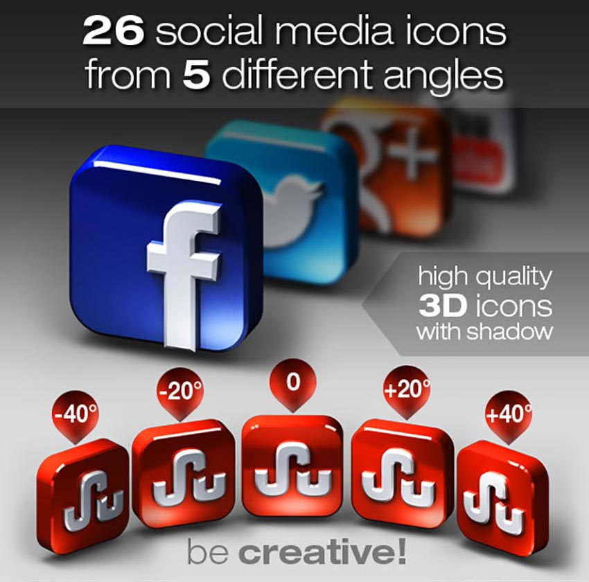 26 Social Media Icons from 5 Different Angles