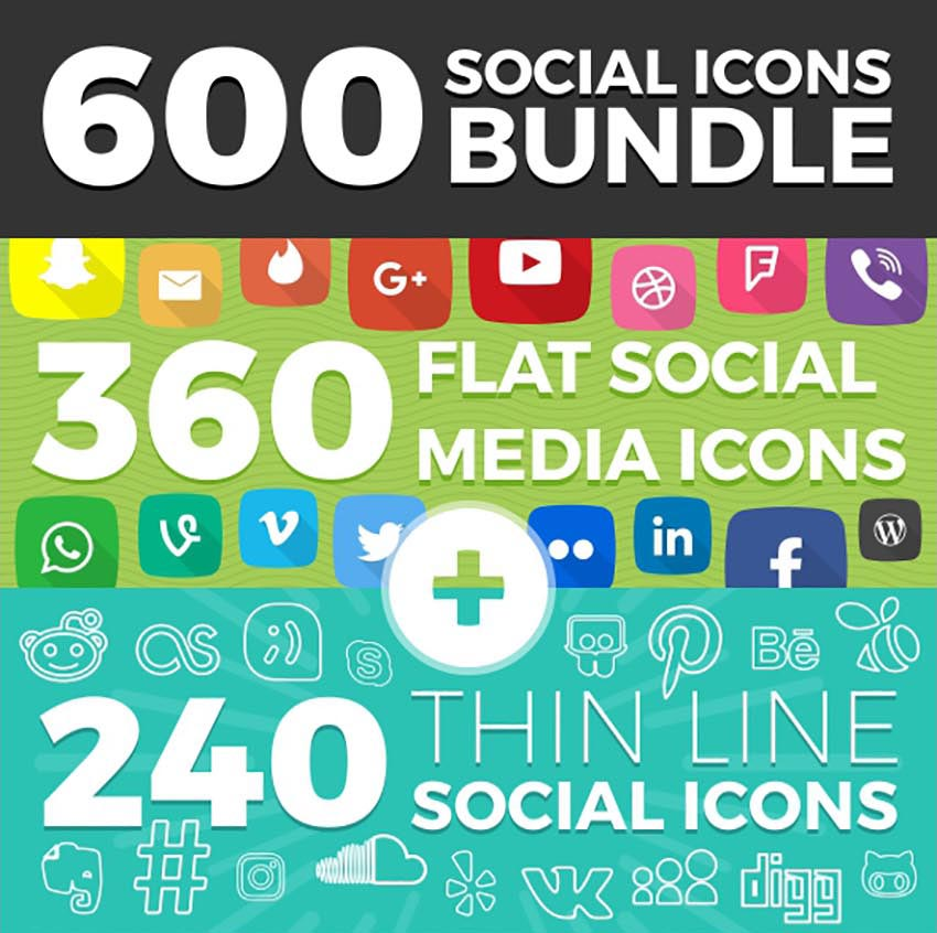 600 Social Media Icons Bundle