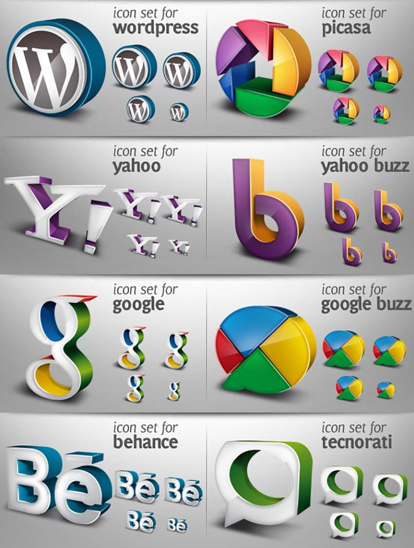 3D Social Media Icons Pack 02