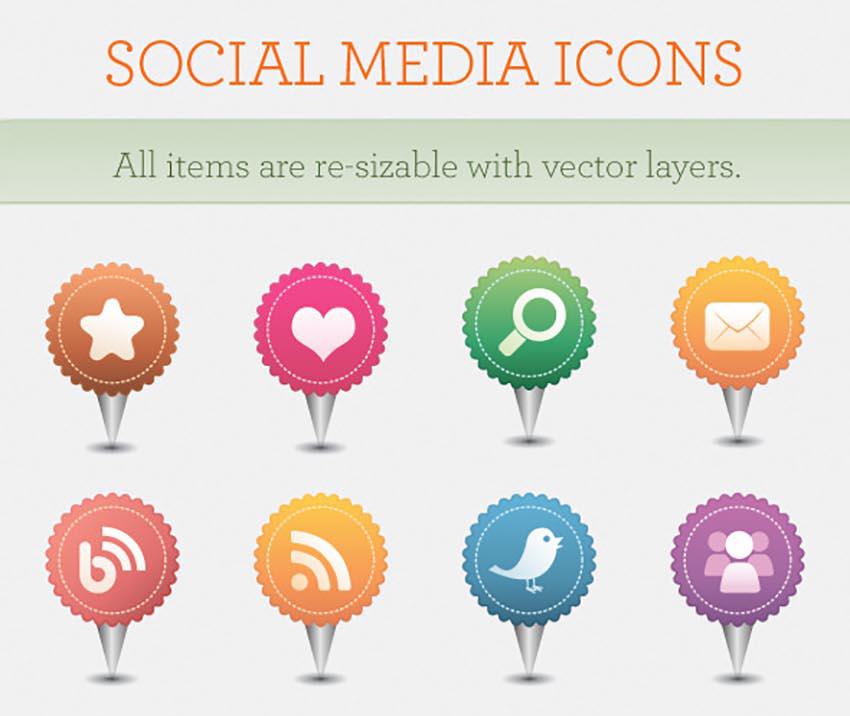 Social Media Icons Pins