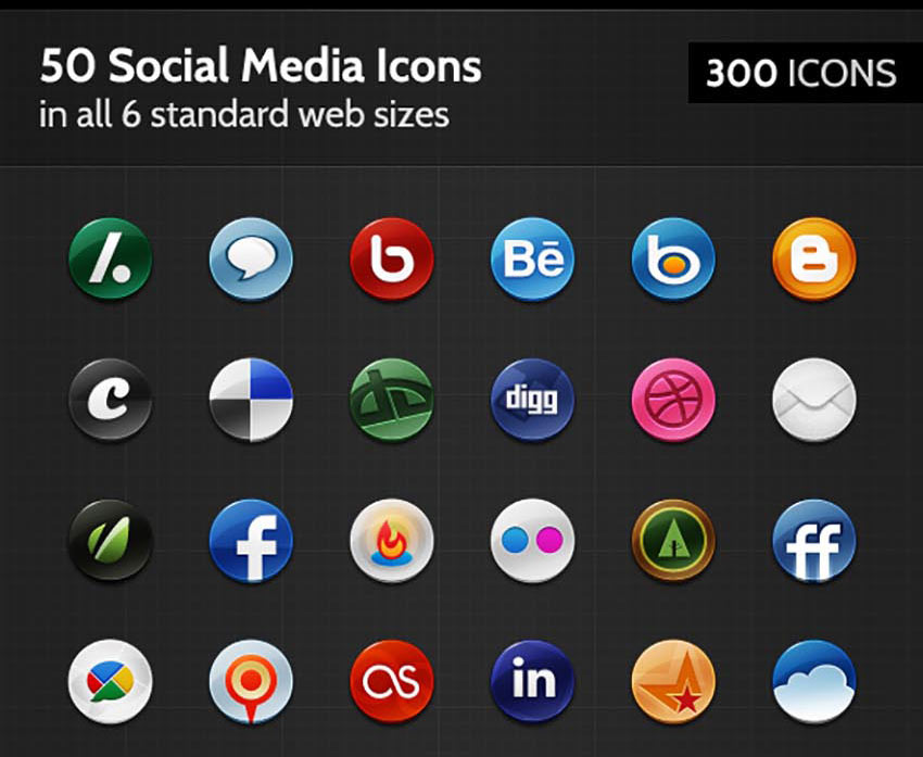 50 Badge Social Media Icons