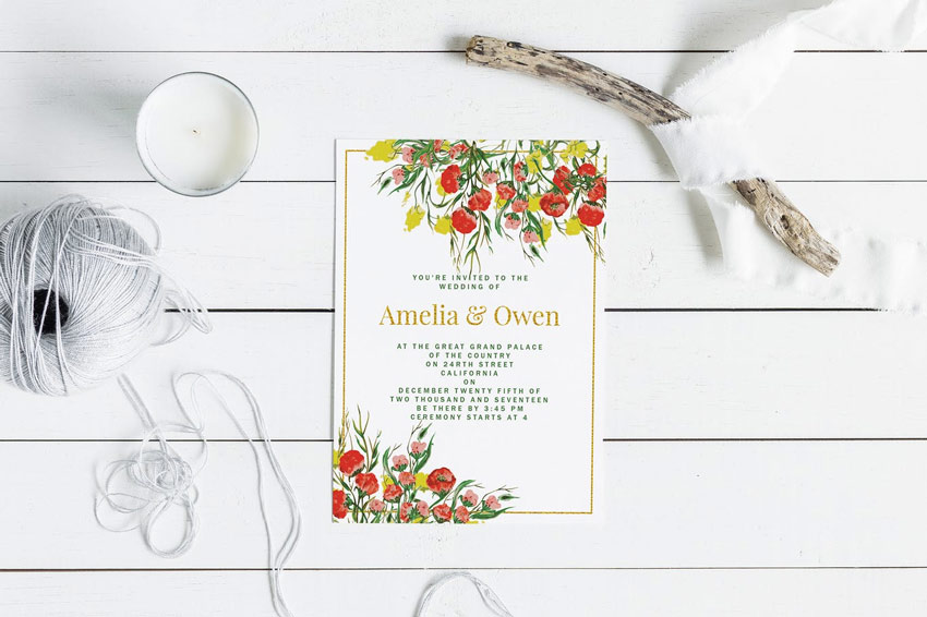 Summer Wedding Invitation Card Greeting