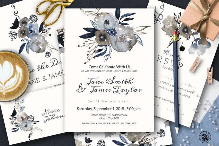 Grey Wedding Invitation Set