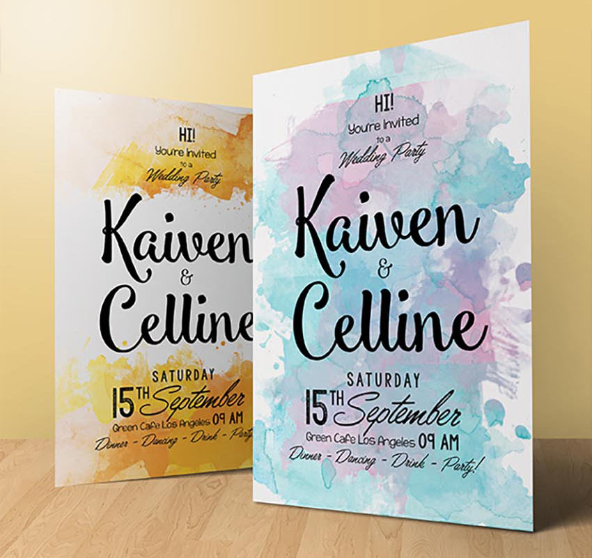 Watercolor Invitation Template - 4 Colors