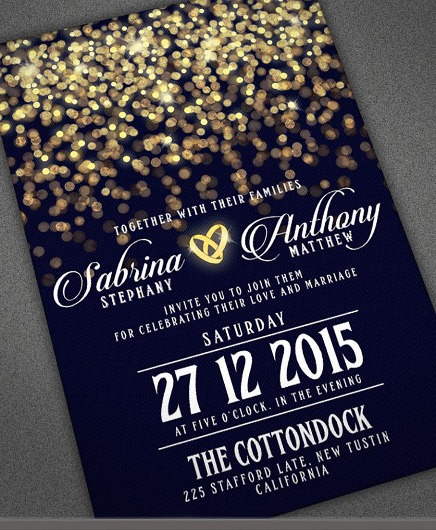 Bokeh Wedding Invitation Template