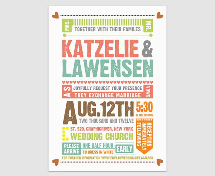 Wedding Invitation Typography Template