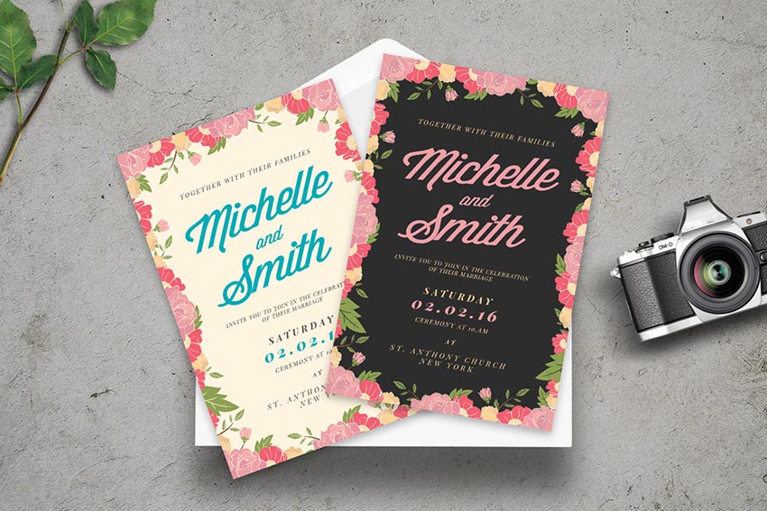Floral Rustic Wedding Invitation