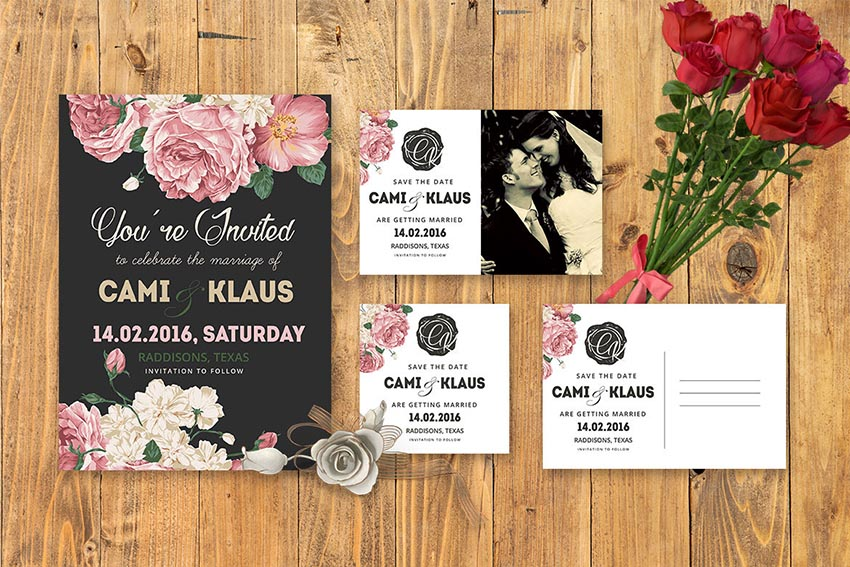 DIY Peonies Wedding Invitation PSD Template