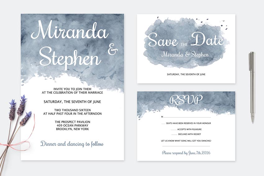 Dark Watercolor Wedding Templates
