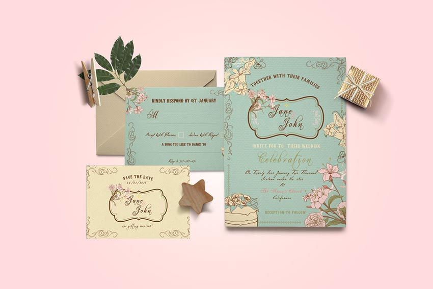 DIY Vintage Wedding Invitation PSD Greeting Card