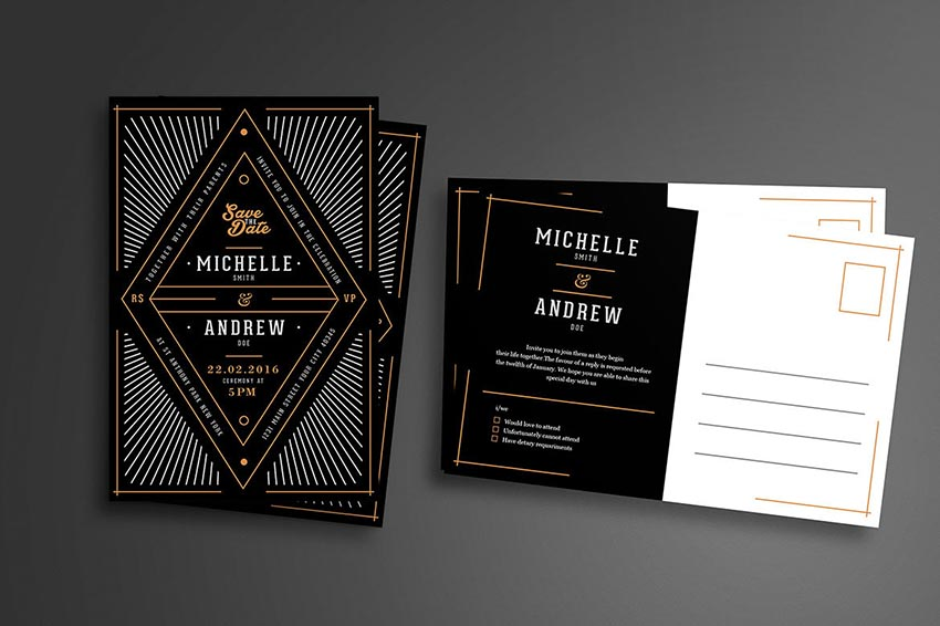 50 stylish wedding invitation templates art deco wedding invitation stopboris