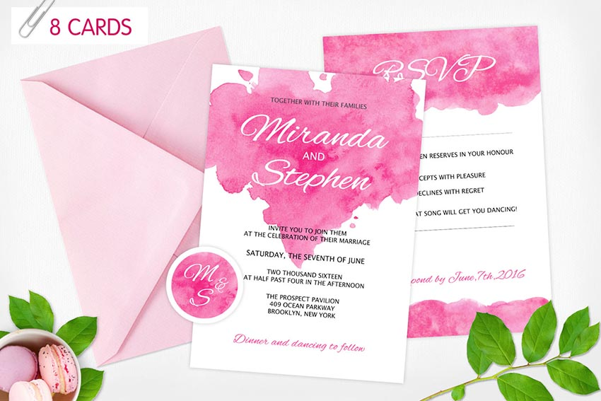 Watercolor Wedding Invitations 8 cards