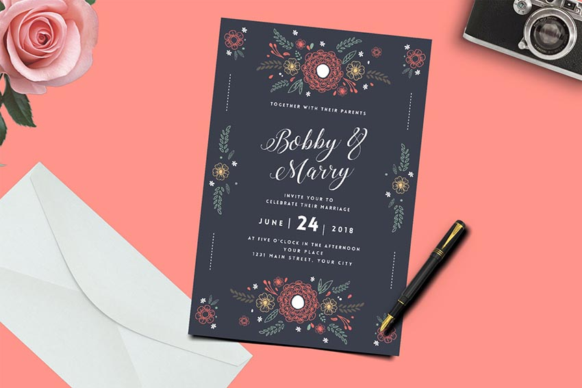 Floral Wedding Invitation Greeting Card