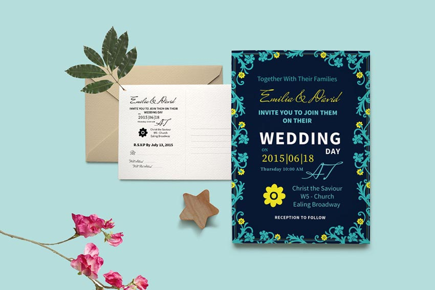 DIY Typography Wedding Invite PSD Greeting Card