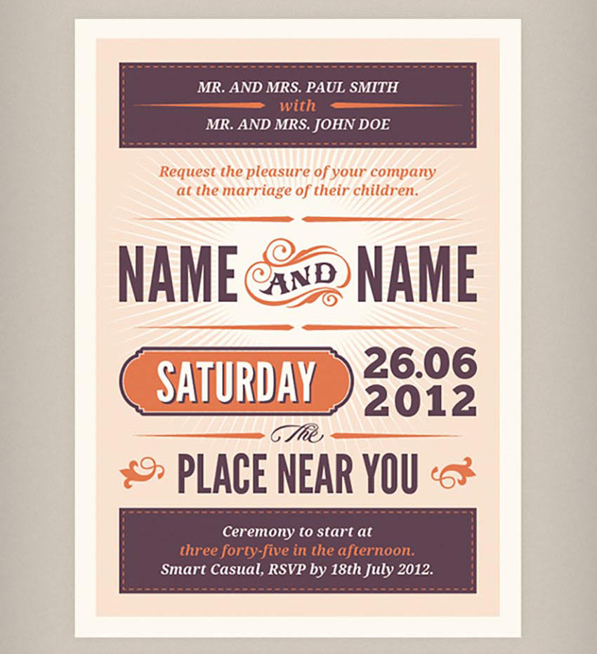 Rustic Wedding Invitation  RSVP