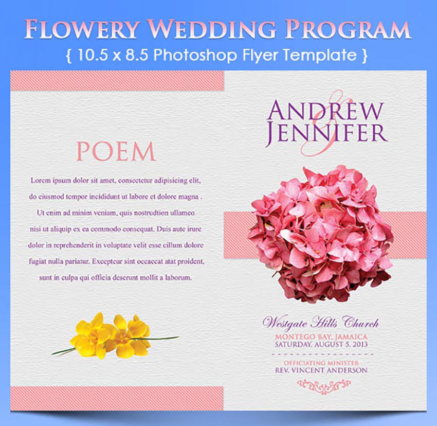 Elegant Wedding Program Templates - Photoshop wedding program template