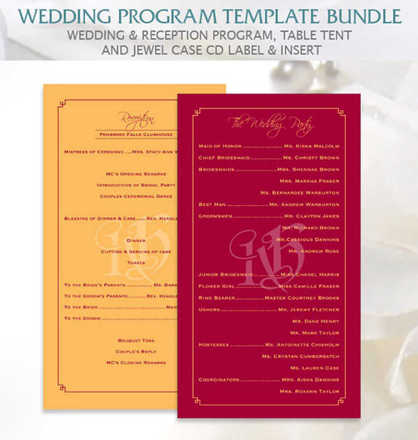 Elegant Wedding Program Templates