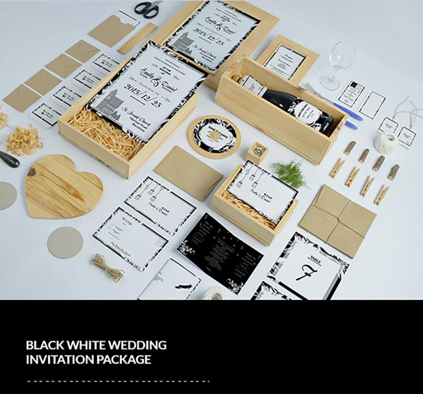 Black  White Wedding Invitation Pack