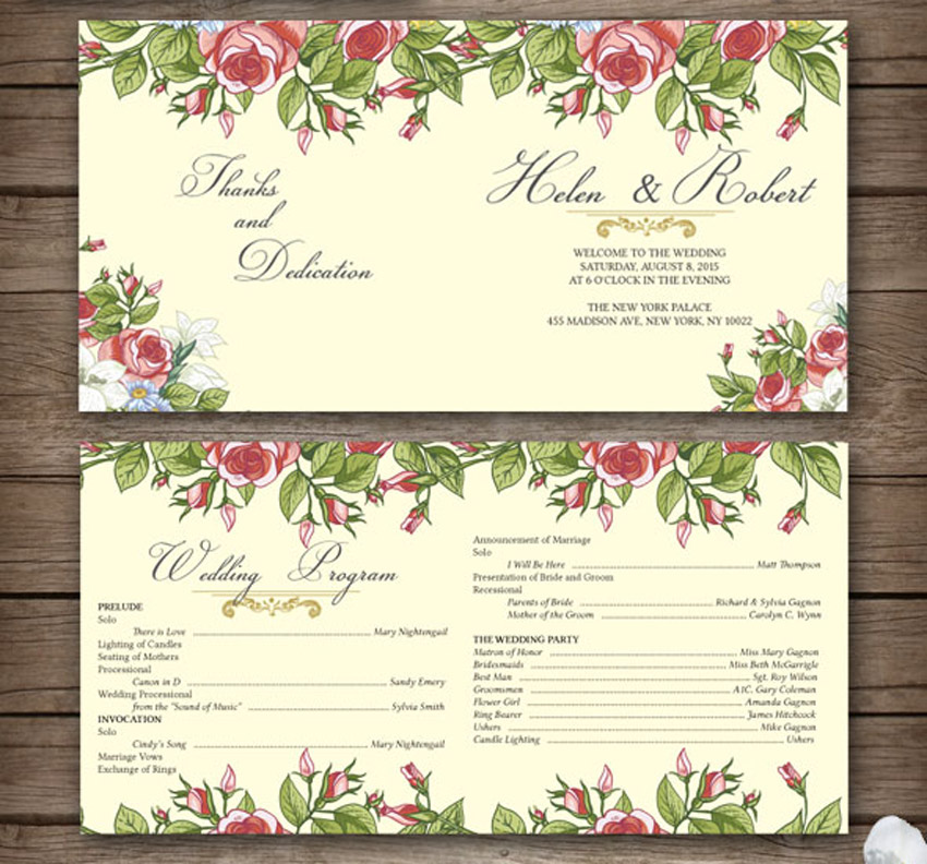 Rustic Floral Wedding Program