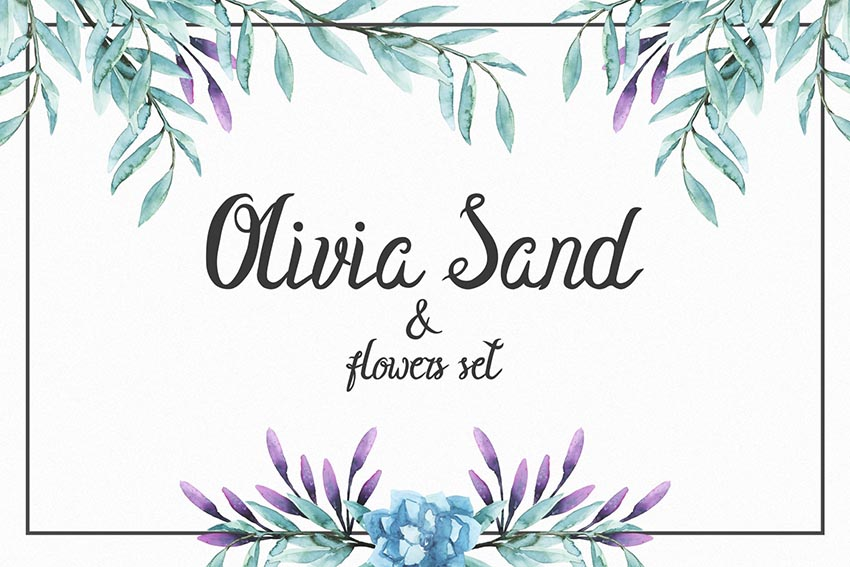 Olivia Sand Cursive Font Style Flowers set