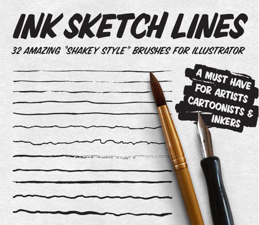Ink Sketch Lines - 32 Illustrator Brushes