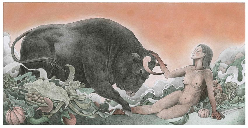 Bullfighting Illustration by Ricardo Nunez Suarez