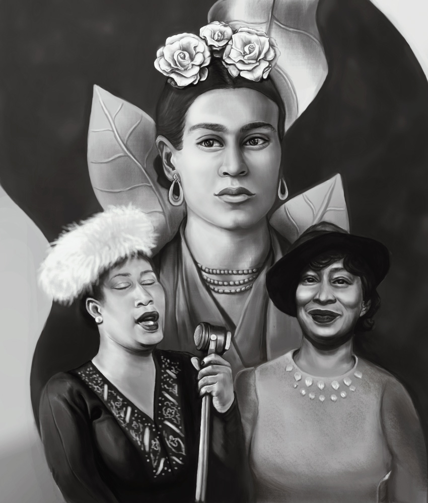 Frida Kahlo Ella Fitzgerald Zora Hurston Painting Photoshop Tutorial