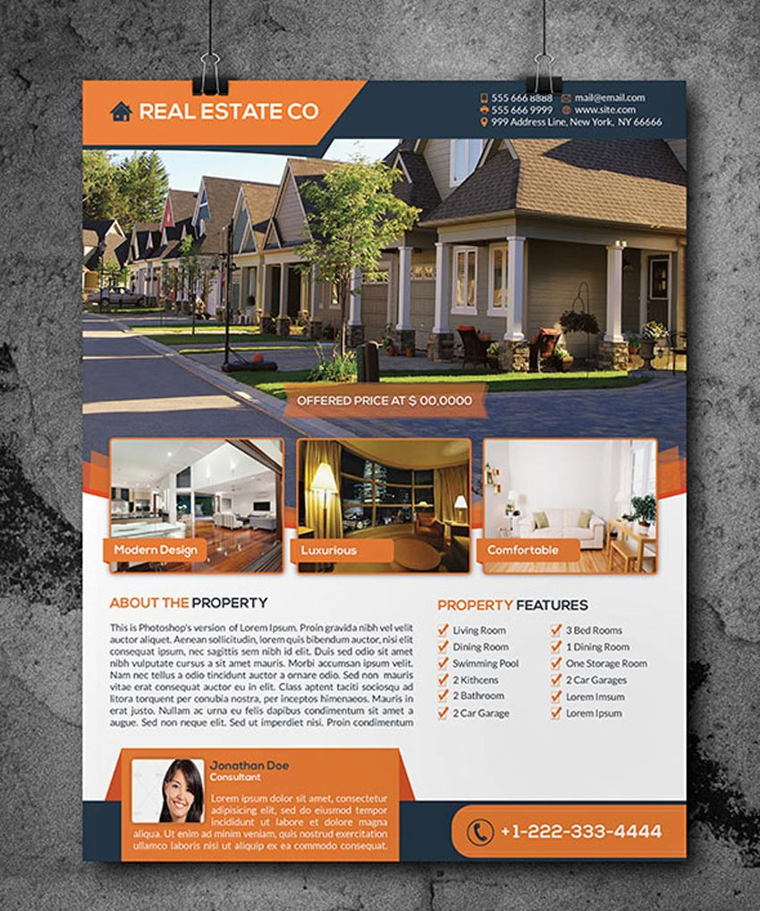 Professional Real Estate Flyer Templates - For sale by owner house flyer template