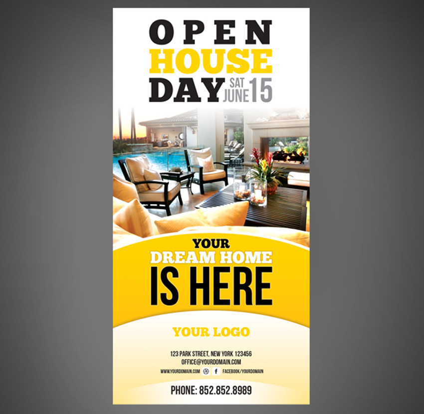 40 Professional Real Estate Flyer Templates – Real Estate Open House Flyer Template
