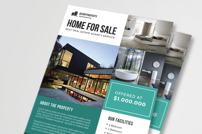 Real Estate Flyer  Home For Sale Brochure