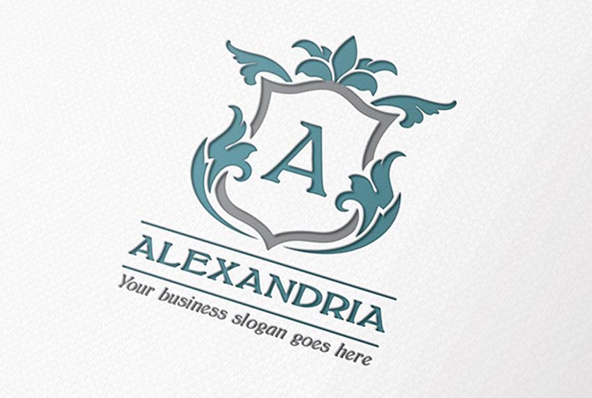 Alexandria Letter Crest Logo