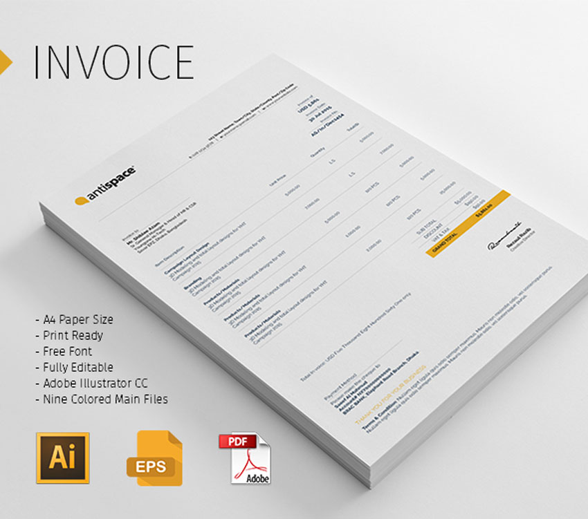 multi color invoice template pack