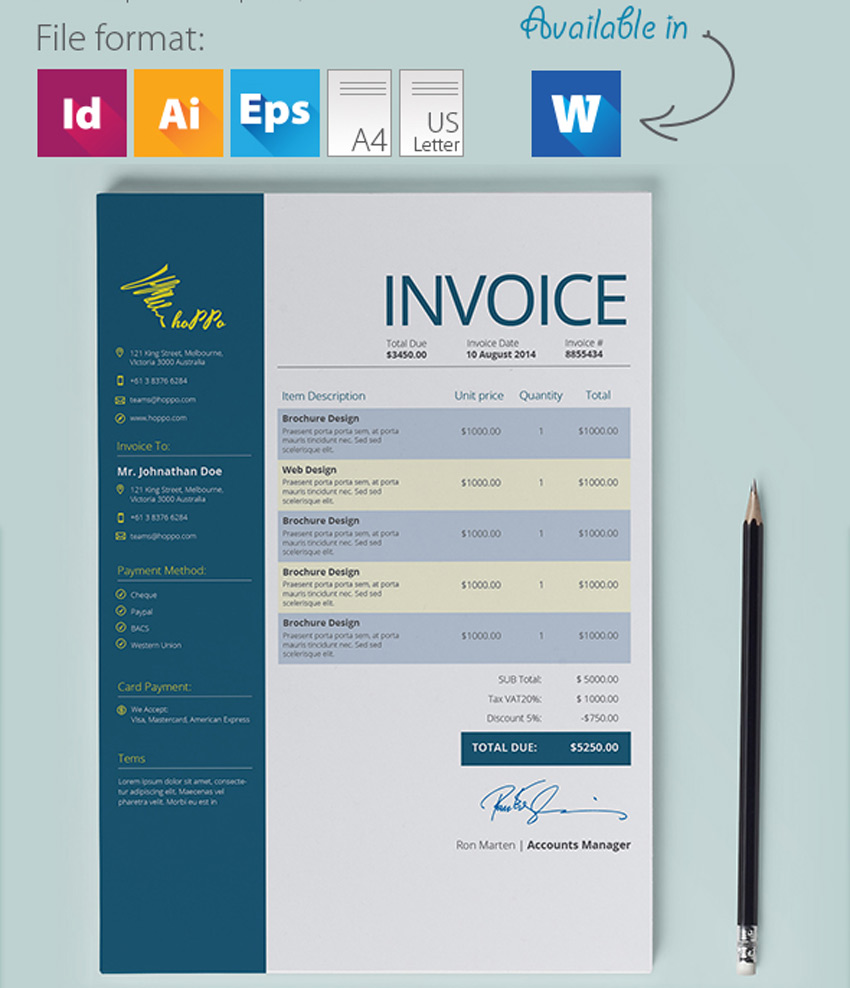 4 Color Invoice Template