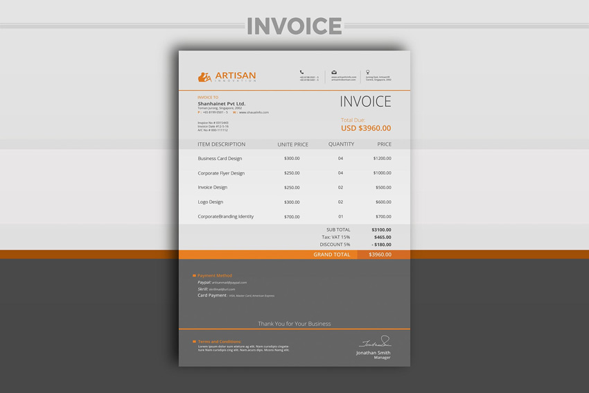 Professional Invoice Template  Design Invoices
