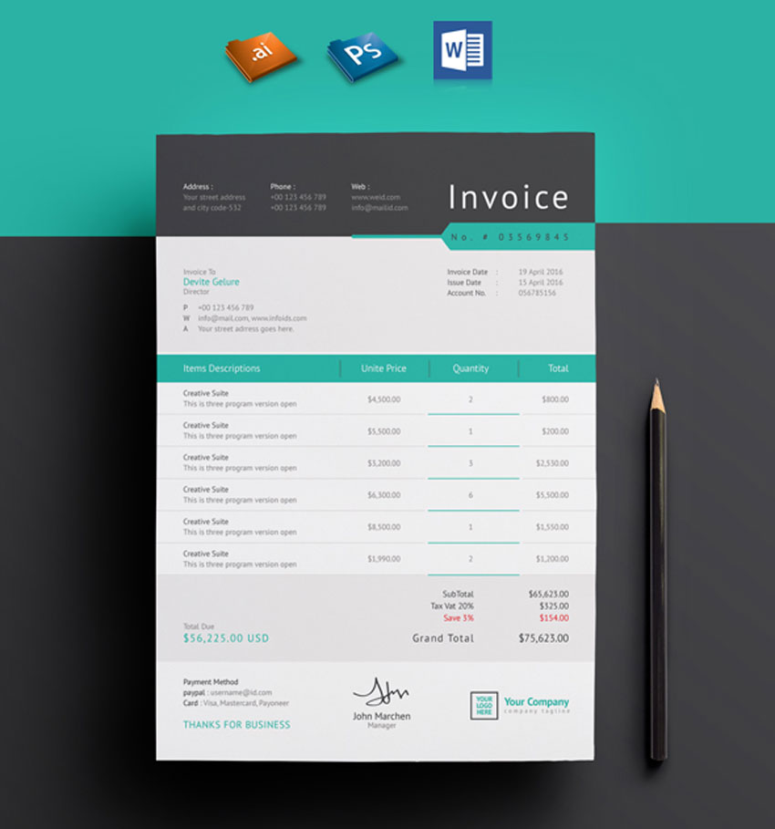 Corporate Invoice Template Set