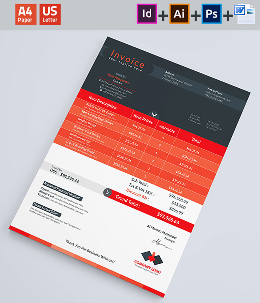 Invoice Templates For Corporations Small Businesses - Invoice template design