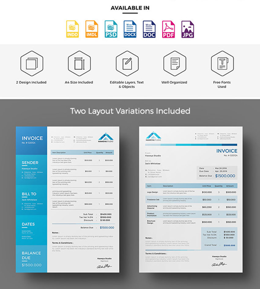 Hotel Invoice Template Excel  Invoice Templates For Corporations  Small Businesses Free Tax Invoice Template with Labour Invoice Template Excel Haweya Invoice Template Editable Invoice Template Word Pdf