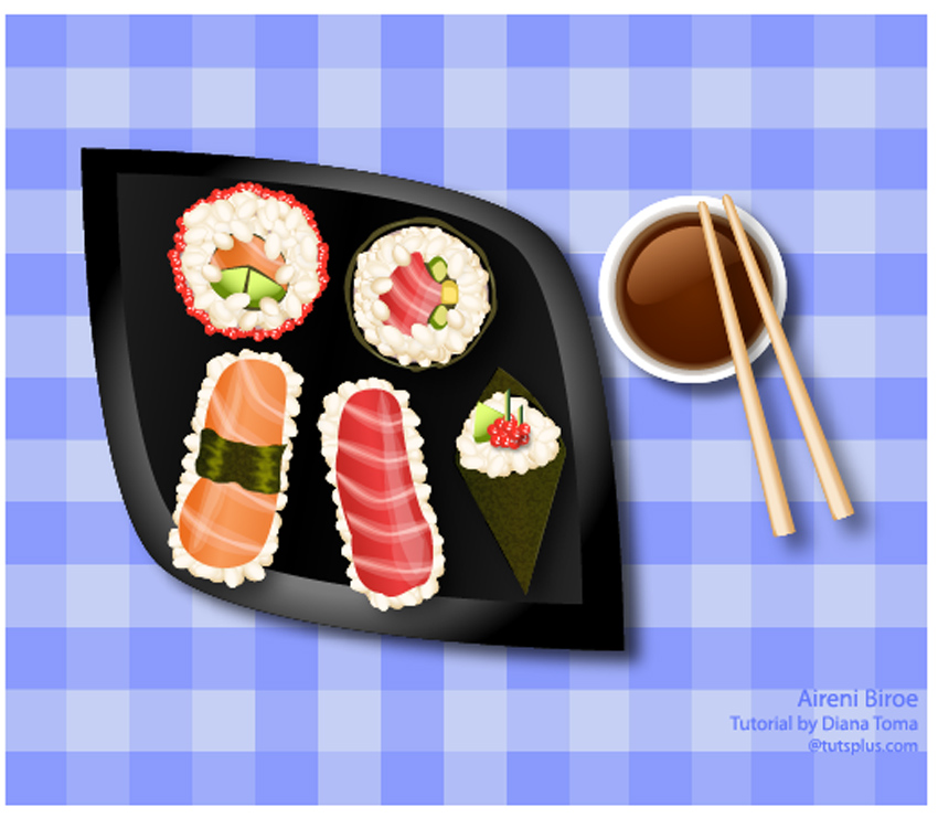 Vector Sushi Icons Illustrator Tutorial