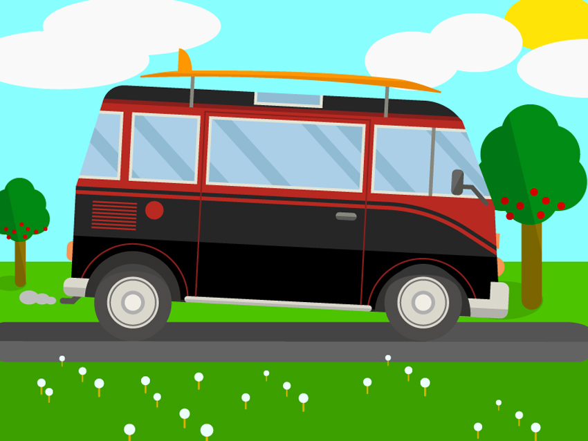 Surfing Van Illustration Adobe Illustrator Tutorial