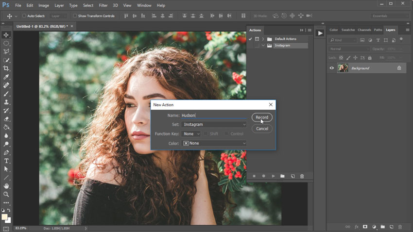 Create an Instagram Photoshop Action