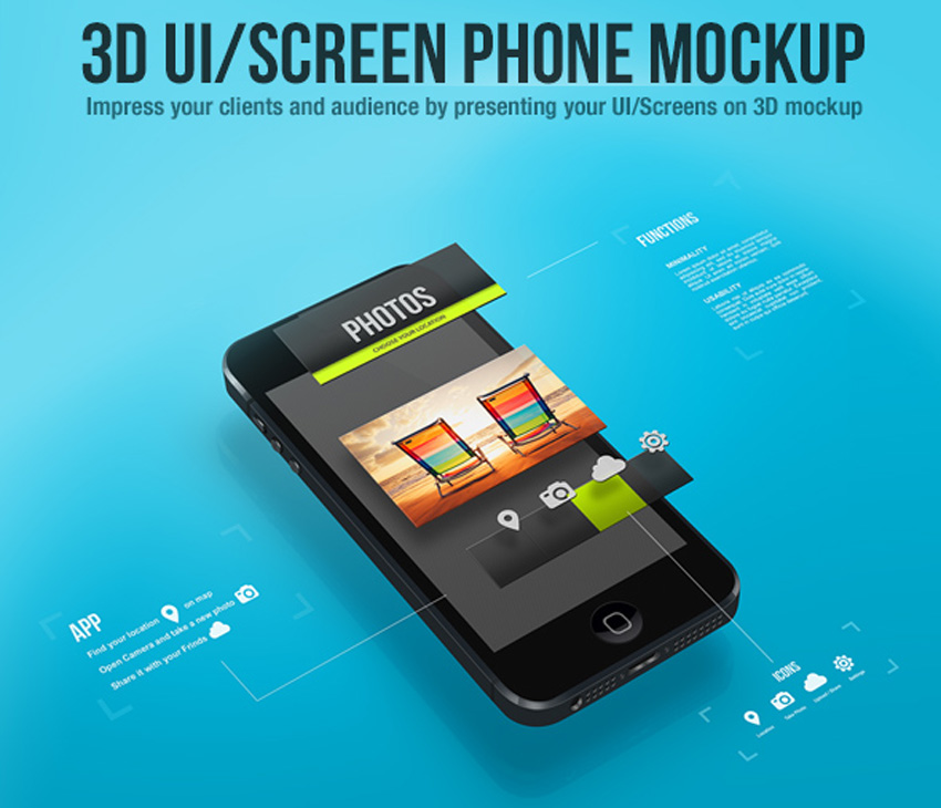 3D UIScreen Phone Mockup