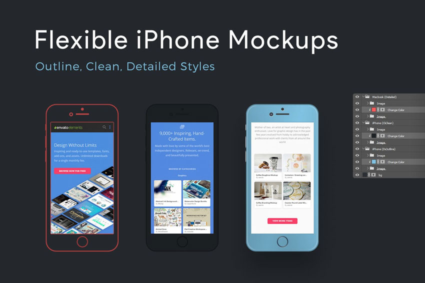 Flexible iPhone Mockups
