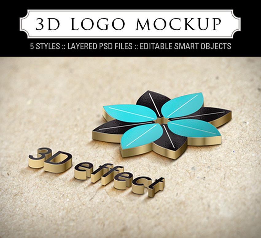 3D Logo Mockup - 5 Styles