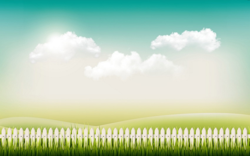 Spring Grass Fence and Sky Background Adobe Illustrator Tutorial