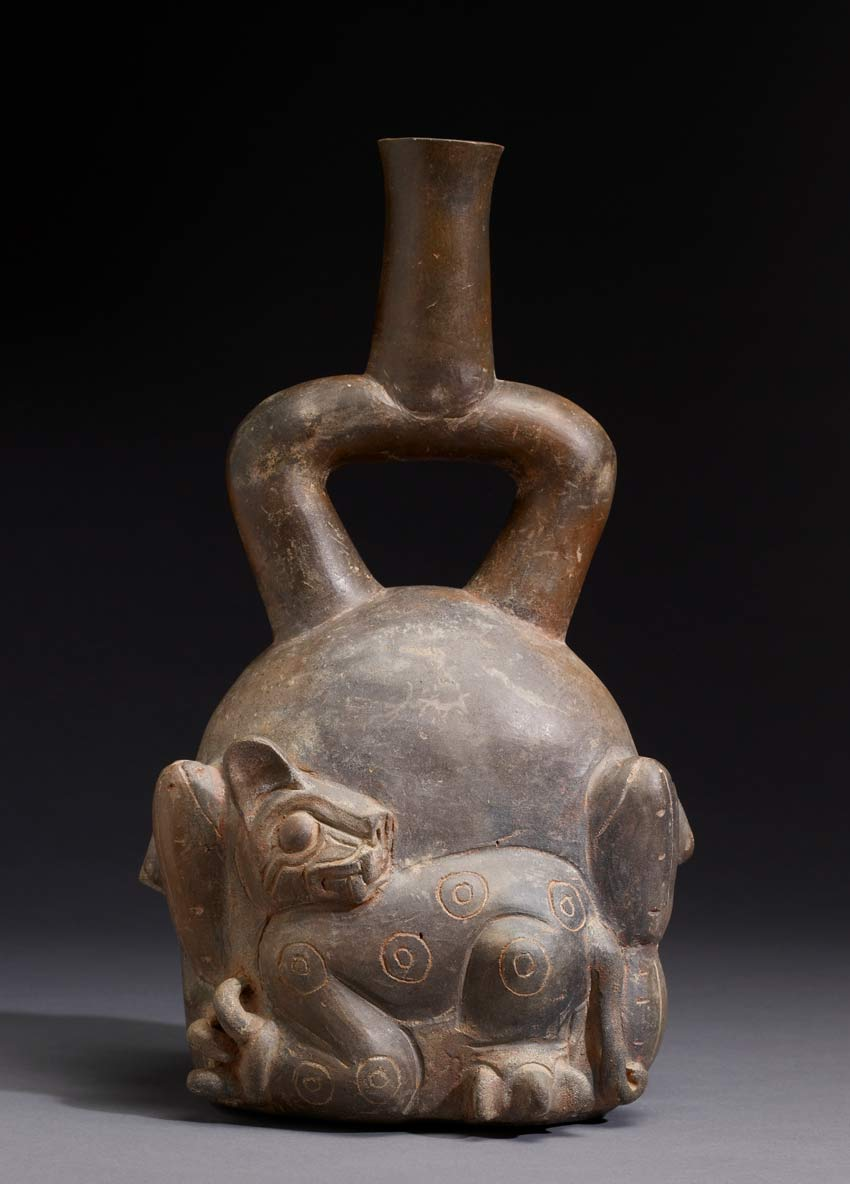 Chavin Feline and Cactus Stirrup Vessel