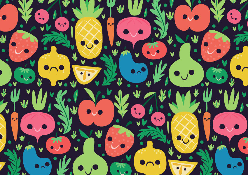 Mid Century Vegetable and Fruit Pattern Illustrator Tutorial