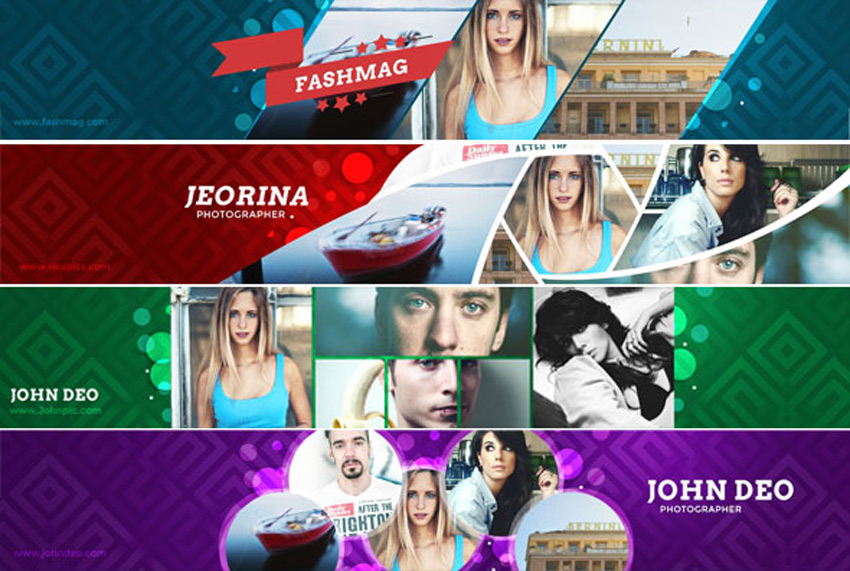 4 Collage YouTube Banners