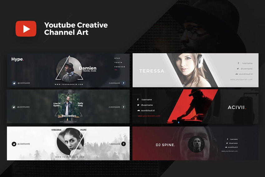 41 Plantillas de Banner de YouTube Creativas