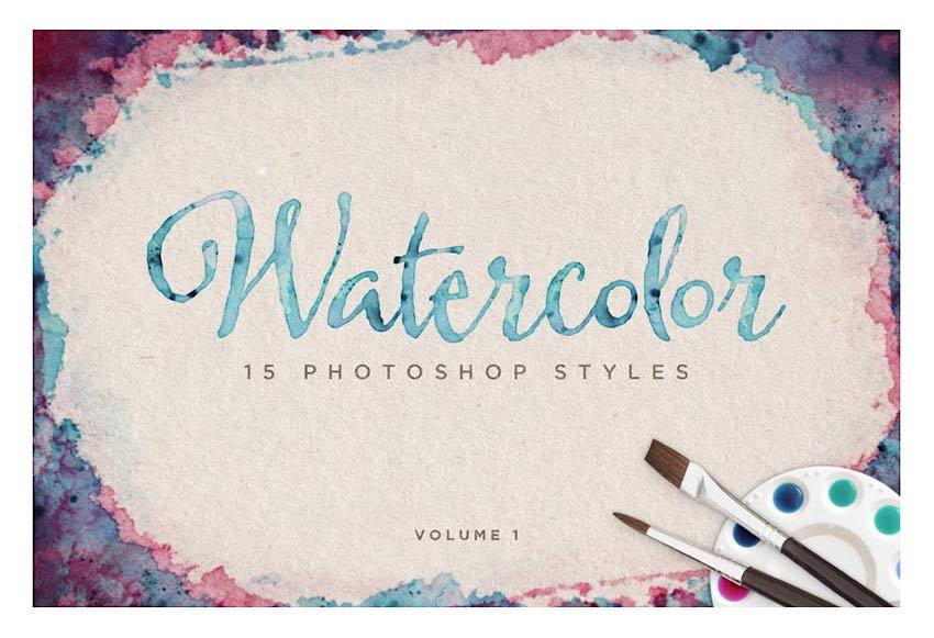 Watercolor Photoshop Styles Vol 1